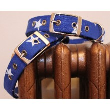 Blue with White Stars Dog Collar