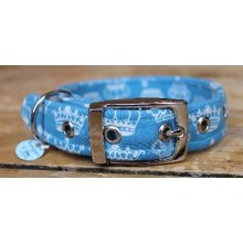 Crowns on Blue Fabric Dog Collar