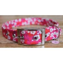 Liberty Blossom on Pink Dog Collar