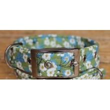 Liberty Daisies on Green Fabric Dog Collar