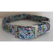 Liberty Jade and Pink Flowers Dog Collar