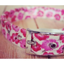 Pink Poppies on White Fabric Dog Collar