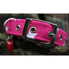 Pink with White Stars Dog Collar