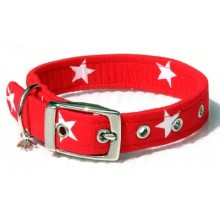 Red with White Stars Fabric Dog Collar