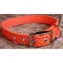 Small Polka Dots on Orange Fabric Dog Collar