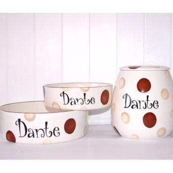 Personalised Dog Bowls and Treat Jar Set