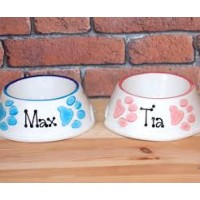 Personalised Dog Bowl - Paw Prints Slanted