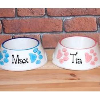 Personalised Dog Bowl - Paw Prints Slanted