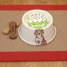 Personalised Ceramic Slanted Bowl with a Portrait of your Dog