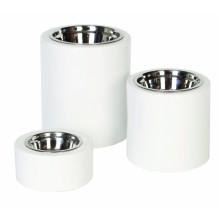 High-Rise White Dog Bowls