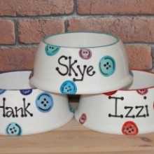 Personalised Ceramic Slanted Buttons Dog Bowls