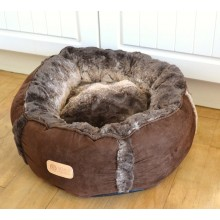Round Faux Fur And Suede Pet Bed