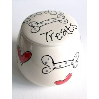 Personalised Dog Treat Jar with Hearts and Bones