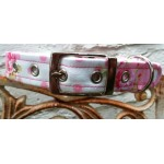 Pink Spots and Roses Fabric Dog Collar
