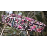 Red Blossom on Brown Fabric Dog Collar