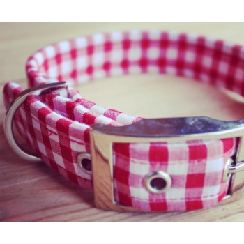 Red and White Gingham Fabric Dog Collar