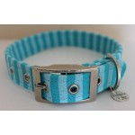Sea Green Stripes Fabric Dog Collar