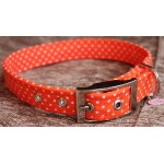 Small Polka Dots on Orange Fabric Dog Collar