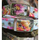 Vintage Flowers on Blue Fabric Dog Collar