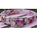 Vintage Flowers on Pink Dog Collar