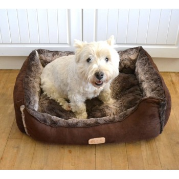 Luxurious Faux Fur And Suede Dog Bed