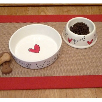 Personalised Ceramic Dog Bowl with Hearts and Bones