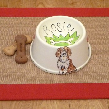 Personalised Ceramic Spaniel Bowl with a Portrait of your Dog
