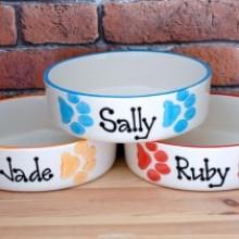 Personalised Ceramic Paw Print Dog Bowls