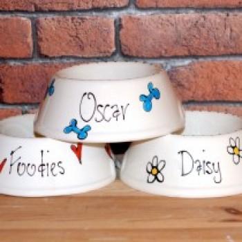 Personalised Ceramic Slanted Whimsical Dog Bowls